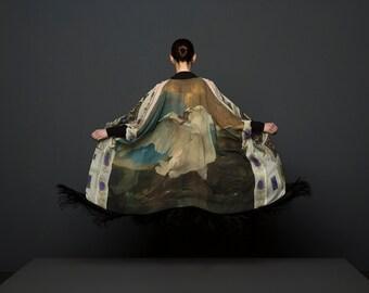 Fringe Kimono, Silk Kimono, Kimono Robe, Kimono Jacket, Boho Kimono, Norwegian Wood, Rijksmuseum, Bird Kimono, Boho Wedding, Bridal Robe