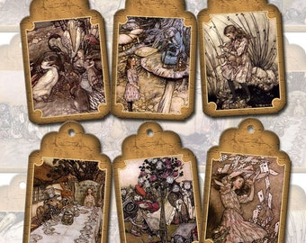 Alice In Wonderland- Rustic Vintage Art Hang/Gift Tags/Cards-Instant Download- Printable Collage Sheet JPG Digital File-New Lower Price