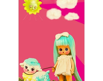 lamb doll print aceo size WE GO WALKIES