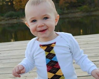 Boys Argyle in Primary Colors Appliqued Tie Shirt - sizes 0-3 months to size 6 - White Long or Short Sleeve