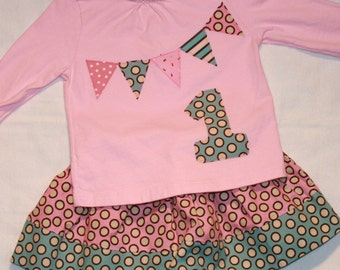 Girls First Birthday Outfit - 18 month SHORT sleeve pennant birthday number 1 shirt with pink and blue polkadot skirt