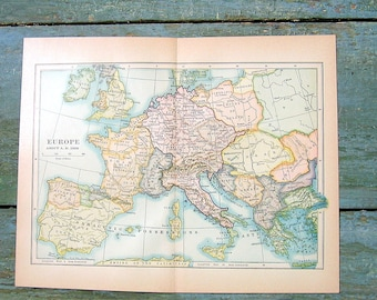Small Historical Map - Europe about AD 1000 - 1934 Map - From World History Book and Atlas - 9 x 7