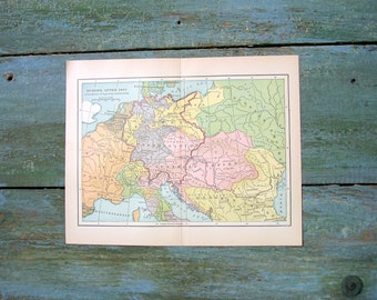 Small Vintage Map - 1934 Map - Map of Europe - After 1815 Important Battlefields - From World History Book and Atlas - 9 x 7