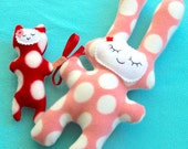 Mamma and Baby Pink and Red Dot Plushies