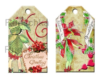 Instant Download Christmas Holiday Printable Gift Tags Set of 6 Different Old World Vintage Style