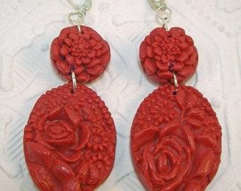 PLAIN FANCY All Red Carved Look Floral Drop Earrings