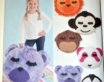 Sewing Pattern Simplicity 2198 Animal Face Pillows Uncut Complete