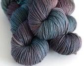 Hand Dyed Worsted Yarn - Charybdis - Superwash Merino 218 Yards - Sea Green and Brown