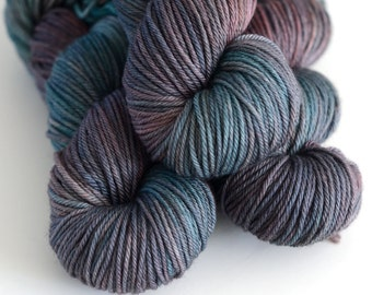 Hand Dyed Worsted Yarn - Charybdis - Superwash Merino 218 Yards - Sea Green and Brown