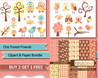 Birds, owls, trees clip art pastel colors - Clipart and Paper Bundle.. Chic Forest Friends - instant download, commercial use