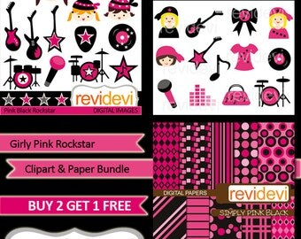ROCKSTAR girl pink black clip art / Girly Pink Rockstar Clipart and Paper Bundle, instant download - commercial use