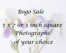 5 x7 or 5 inch square Prints, Bogo Sale, Photos of Your Choice,  Fine Art Photographs