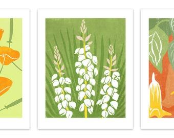 "Set of 4 Art Prints: Block Print Flowers, 8"" x 10"" Reproductions"