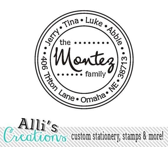 Modern Fun Polka Dot Round Family Return Address Stamp - Self Inking Stamper Great Gift