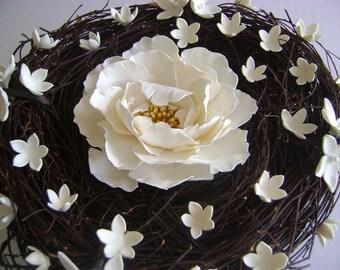 White Peony Wedding Ring pillow Wedding Bridal Ring Bearer Handmade Nest Ring Pillow