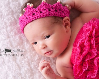 Baby crown Crochet baby crown, Little girl crochet tiara,  newborn photo prop , little girl hair accessories,  Baby girl crochet crown