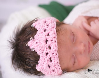 Crochet baby crown, Baby accessories Little girl tiara,  newborn photography prop   Baby girl crochet crown
