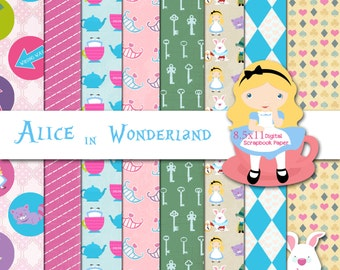 Disney Alice in Wonderland Inspired 8.5x11 A4 Digital Paper Backgrounds for Digital Scrapbooking, Party Supplies, etc -INSTANT DOWNLOAD -