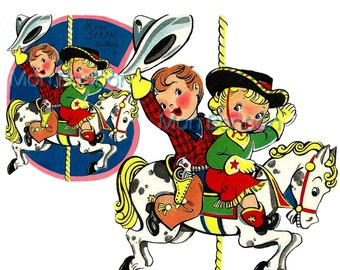 Cowboy Cowgirl Clip Art - Image Transfer - Fabric Transfer .PnG and JpG Image - INSTANT DOWNLOAD