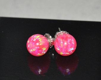 ON SALE  Pink Earrings,  10mm Ball Stud  Earrings,  Opal Earrings, Hot Pink,  Silver Earrings,  925 Sterling Silver, Opal Jewelry, Hot Pink