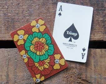 Vintage Retro Style Floral / Flowers Playing Card Deck - Full Deck - Brown Version