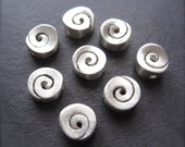Milky Way - Two Swirly Sterling Silver Focal Beads - 7mm X 8mm