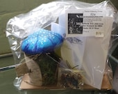 Small Fairy House Kit With A Blue Mushroom Roof Amanita Muscaria Made out of Birch Bark Great for Children Holiday Gift or Birthday Parties