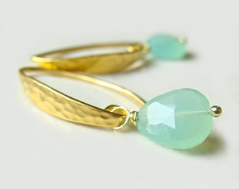 Hampton Earrings with Chrysoprase Matte Handmade Hammered Gold Vermeil Resort Fashion