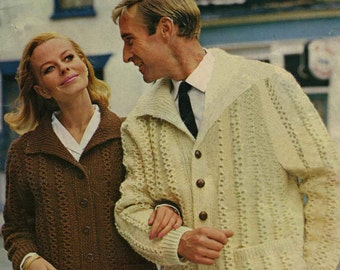 Vintage His and Hers Jacket, Knitting Pattern, 1960 (PDF) Pattern, Mahonys 653
