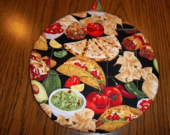 Cantina, Mexican Food, Pot Holders, Potholders, Round, Quilted, Hot Pads, Pot Holders, Handmade, Cotton Fabric, 9 Inches, Trivet, Insulated