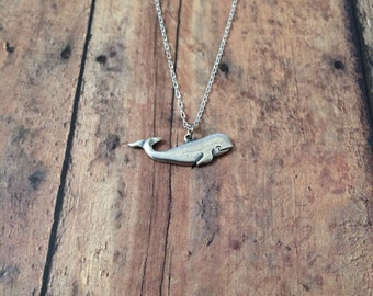 Whale necklace - whale jewelry, ocean necklace, fish necklace, whale pendant, sperm whale necklace, silver whale necklace