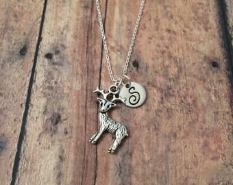 Reindeer initial necklace - reindeer jewelry, woodland jewelry, silver deer necklace, winter necklace, Christmas necklace, deer necklace