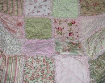 Custom Personalized  Pink n Green Rose Rag Quilt Shabby Chic Sampler w/ Vintage Chenille & Minky Baby Teen Adult Throw *Made To Order*