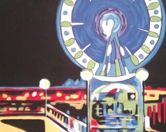 Seattle Ferris Wheel Abstract Pop Art