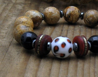 Picture Jasper Boho Beaded Bracelet, Natural Stone Unisex Stretch, cooljewelrydesign, For Her or Him Under 200