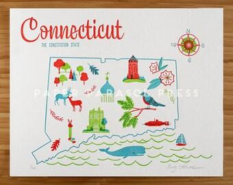 Connecticut State Letterpress Print 8x10