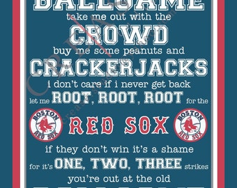 "Boston Red Sox, 'take me out to the ballgame"" 16""x20"" printable, instant download, wall decor, bedroom, man cave, father's day, gift, men"