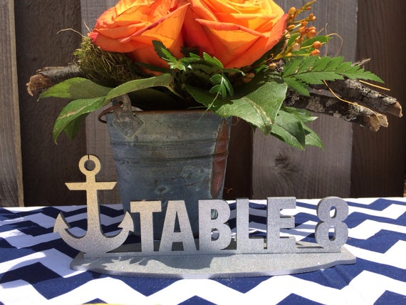 Nautical Table Number, Anchor, Self Standing Sign, Laser Cut Wood, Wedding Table Number, Nautical Table Decor, Table Sign, Table Number