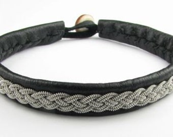 Black Sami Bracelet - Leather Wrap Tin Metal Thread Braided Bracelet with Reindeer Leather and Antler Button Clasp