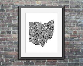 Ohio typography map art print 8x10 customizable personalized state poster custom wall decor engagement wedding housewarming gift