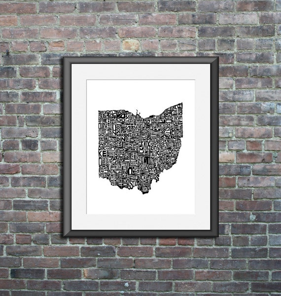 Ohio typography map art print 8x10 customizable personalized state poster custom wall decor engagement wedding housewarming gift