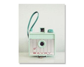 Retro mint camera photo canvas - ready to hang Canvas Gallery Wrap, retro camera, mint savoy camera, camera art, mint, quirky photography