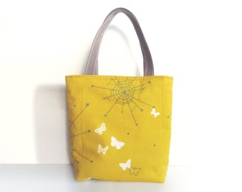 Tote bag, spider web print, yellow and gray, cotton shopper