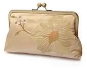 SALE: clutch bag, embroidered silk purse, wedding clutch, bridesmaid gift, GOLD BLOOM