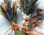 Wedding Party Bouquets, Boutonniere and Corsage of Lavender and Wheat wrapped in Copper