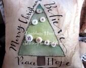 Merry Christmas stitchery pillow