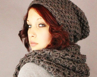 SET The Favorite Cowl Hood scarf Wool johnny slouch Hat slate grey