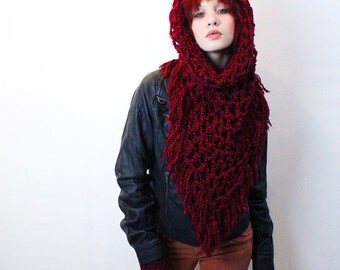 The Fringe Cowl neck scarf hood shawl vegan Cranberry ruby red
