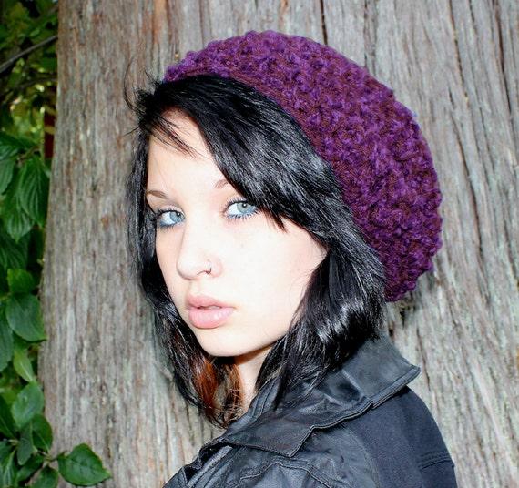 SALE Celebrity slouch hat chunky beret Rasta Eggplant purple