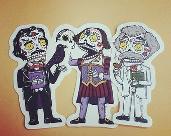 Literary Calaveras Vinyl Sticker 3-Pack